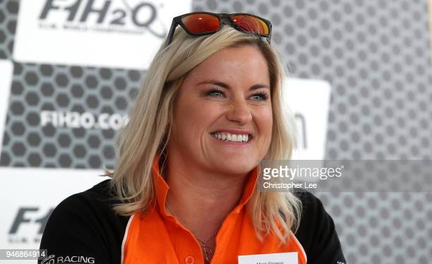 Marit Stromoy Professional powerboat driver speaks to the media during a press conference during the UIM F1H2O Grand Prix Of London Launch in London...
