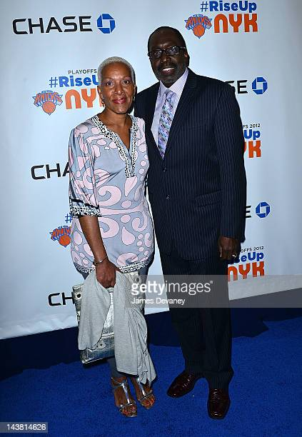Marita Green and Earl Monroe attend the Knicks Blue Carpet at Madison Square Garden on May 3 2012 in New York City