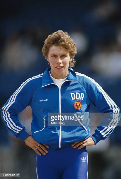 Marita Koch of East Germany during the Women's 400m event at the14th European Athletics Championships on 28th August 1986 at the Neckarstadion in...