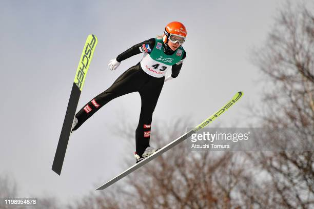 Marita Kramer of Austria competes on day two of the FIS Ski Jumping Women's World Cup Sapporo at Okurayama Jump Stadium on January 12, 2020 in...