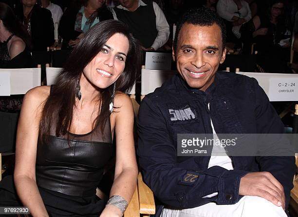 Maritere Vilar and Jon Secada attend the Custo Barcelona Hairy Metal Fall/Winter 2010/11 Collection during FASHIONmiami at Miami Design District on...