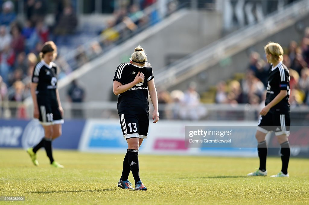 Marith Priessen of 1. FFC Frankfurt looks dejected after during the UEFA Women's Champions League Semi Final second leg match between 1. FFC Frankfurt and VfL Wolfsburg at Stadion am Brentanobad on May 1, 2016 in Frankfurt am Main, Germany.
