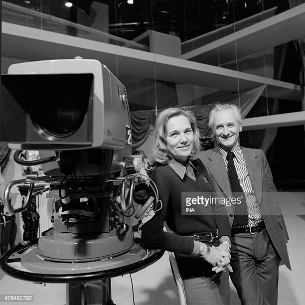 Maritie and Gilbert Carpentier putting next to a camera on the set of the studio 17 Buttes Chaumont
