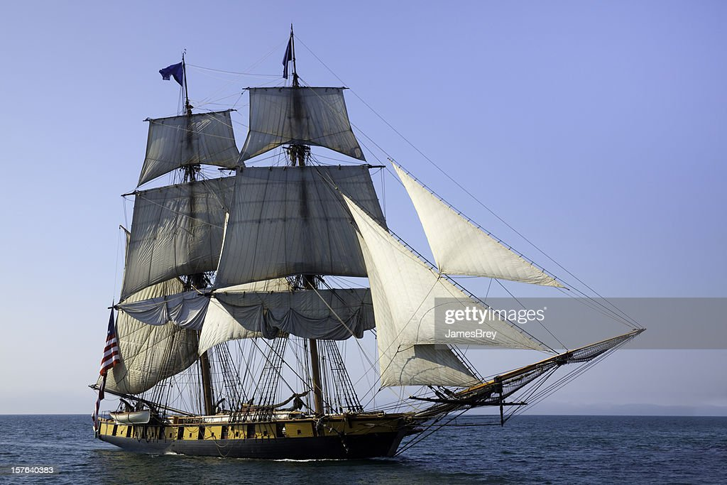 Maritime Adventure; Majestic Tall Ship at Sea : Stock Photo