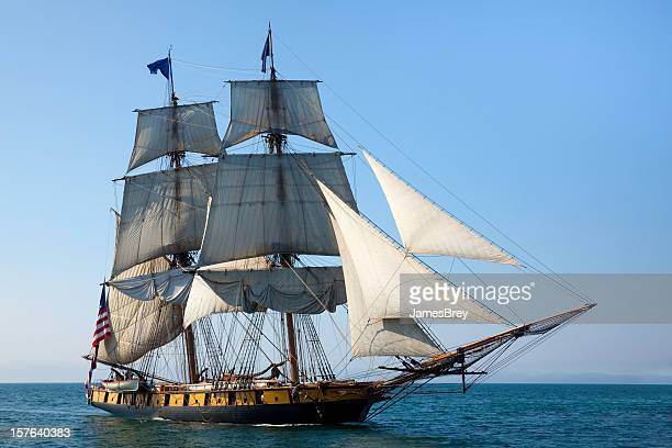 maritime adventure; majestic tall ship at sea - military ship stock pictures, royalty-free photos & images
