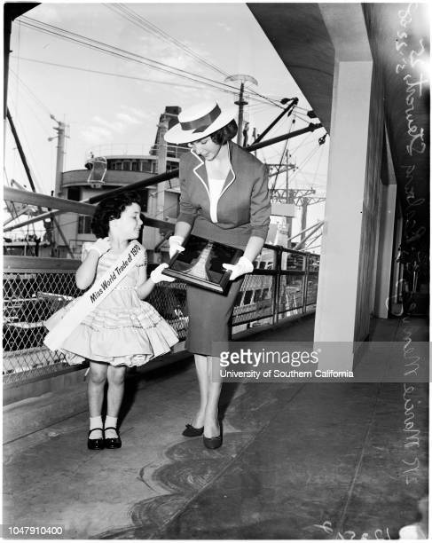 Maritime day 22 May 1958 Marcie Menveg 5 yearsBarbara Stewart 25 years Caption slip reads 'Photographer Gershon Date Reporter Gershon Assignment...