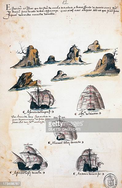 Maritime expedition in the Year 1506 engraving from the Livro das Armadas Portugal 16th century Lisbon Academia Das Ciencias