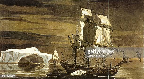 Maritime history James Cook *2710172814021779 Maritime explorer Great Britain Vessels in the Antarctic smashing icebergs in order to gain drinking...