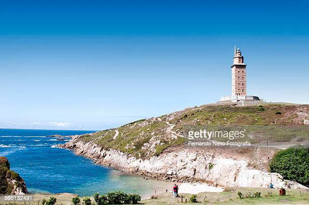 """maritime lighthouse """"the tower of hercules."""" spain - a coruna stock pictures, royalty-free photos & images"""