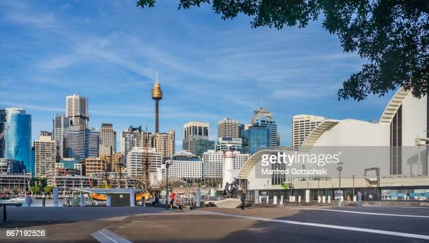 maritime museum and the cbd skyline - darling harbour stock pictures, royalty-free photos & images