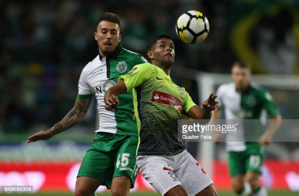 Maritimo defender Bebeto from Brazil with Sporting CP midfielder Iuri Medeiros from Portugal in action during the Portuguese League Cup match between...