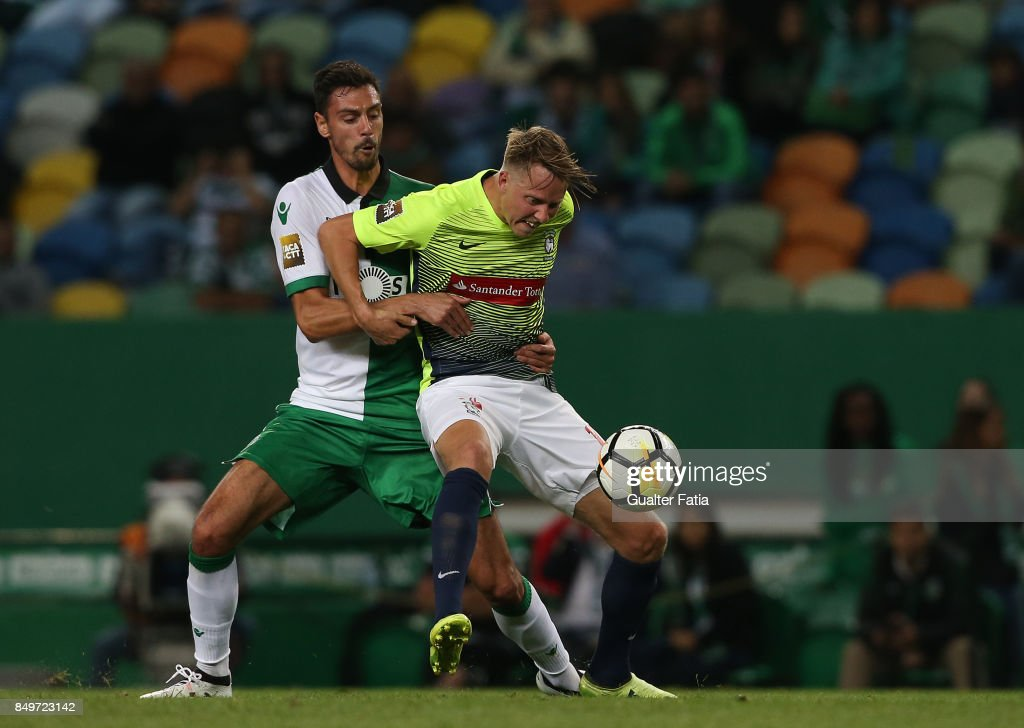 CS Maritimo forward Viktor Lundberg from Sweden with Sporting CP defender Andre Pinto from Portugal in action during the Portuguese League Cup match between Sporting CP and CS Maritimo at Estadio Jose Alvalade on September 19, 2017 in Lisbon, Portugal.