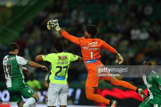 Maritimo goalkeeper Amir Abedzadeh from Iran during the match between Sporting CF v CS Maritimo for the Taca da Liga 2017/2018 at Estadio do Bonfim...