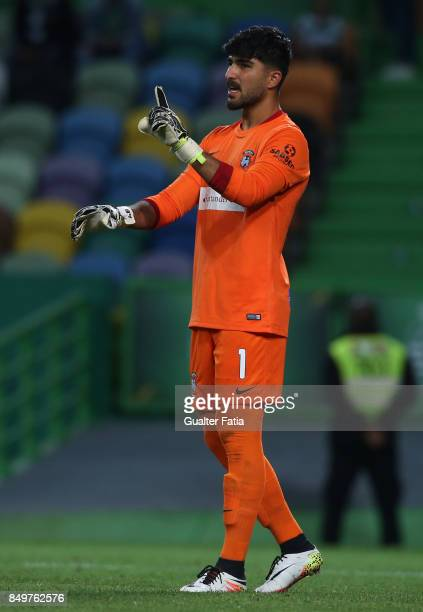 Maritimo goalkeeper Amir Abedzadeh from Iran in action during the Portuguese League Cup match between Sporting CP and CS Maritimo at Estadio Jose...