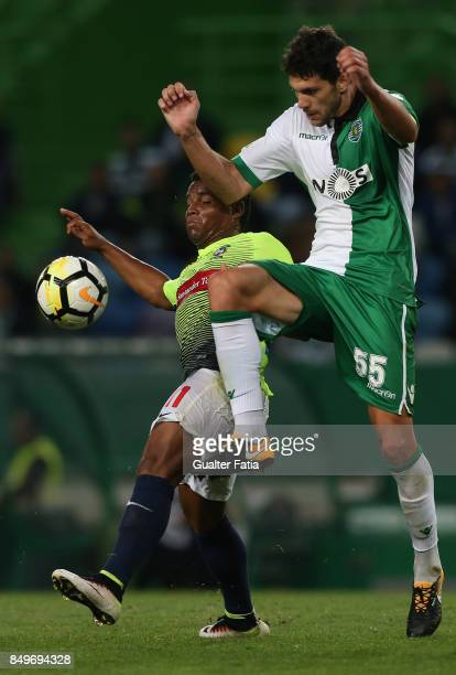 Maritimo midfielder Eber Bessa from Brazil with Sporting CP defender Tobias Figueiredo from Portugal in action during the Portuguese League Cup match...
