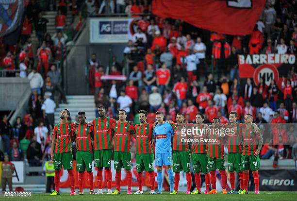 Maritimo players at the beginning of the match against SL Benfica during the Portuguese Primeira Liga at Estadio dos Barreiros on May 8 2016 in...
