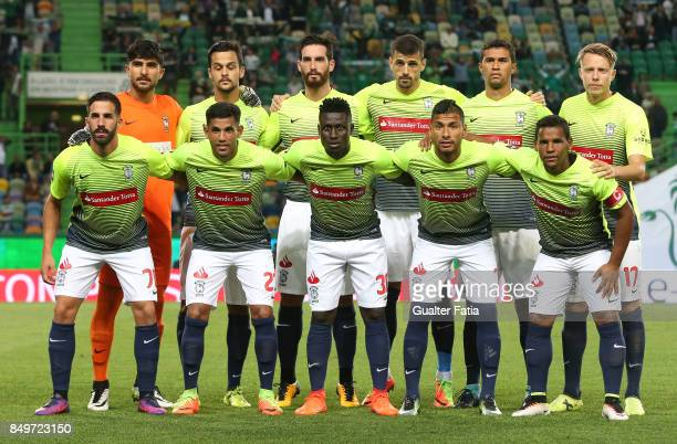 Maritimo players pose for a team photo before the start of the Portuguese League Cup match between Sporting CP and CS Maritimo at Estadio Jose...