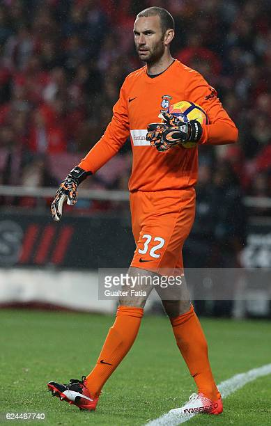 Maritimo's goalkeeper Eduardo Gottardi from Brazil in action during the Portuguese Cup match between SL Benfica and CS Maritimo at Estadio da Luz on...