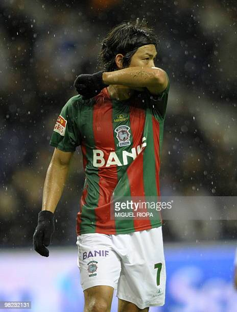 Maritimo´s japanese midfielder Takahito Soma reacts during their Portuguese first league football match against FC Porto at the Dragao Stadium in...