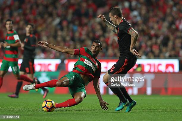 Maritimo's midfielder Fransergio from Brazil vies with Benfica's defender Victor NilssonLindelof during the SL Benfica v CS Maritimo Portuguese Cup...