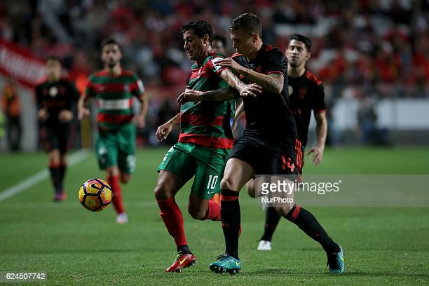 Maritimo's midfielder Gevorg Ghazaryan from Armenia and Benficas defender Victor Lindelof from Sweden during Portuguese Cup match between SL Benfica...