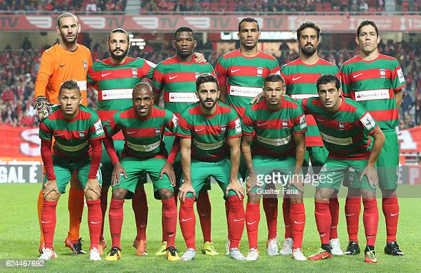Maritimo's players pose for a team photo before the start of the Portuguese Cup match between SL Benfica and CS Maritimo at Estadio da Luz on...