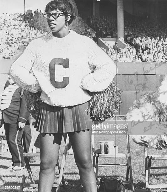 Maritta Coleman pompom girl of the Baltimore Colts is dejected as one of her favorites running back Preston Pearson is brought down during Los...