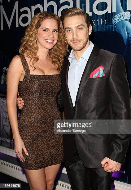 Maritza Bustamante and Eugenio Siller attend Telemundo Press Event At NATPE 2012 at Eden Roc a Renaissance Beach Resort and Spa on January 23 2012 in...