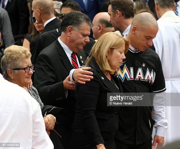Maritza Fernandez the mother of Miami Marlins pitcher Jose Fernandez center and Olga Fernandez his grandmother left after a memorial service at St...