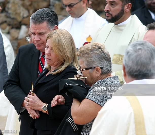 Maritza Fernandez the mother of Miami Marlins pitcher Jose Fernandez center and Olga Fernandez his grandmother right after a memorial service at St...