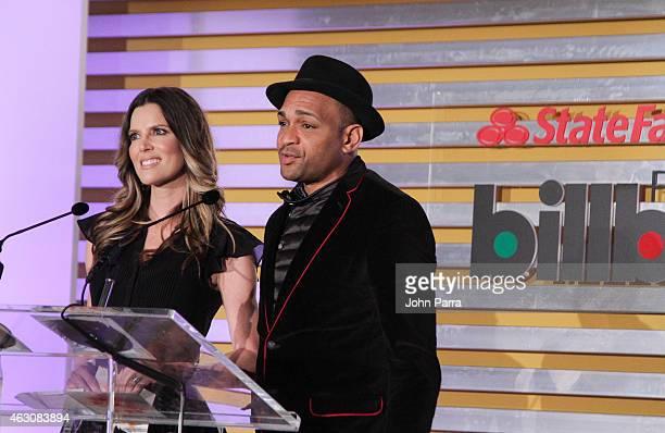 Maritza Rodriguez and Descemer Bueno attends Billboard Latin 2015 Finalists Nominations Press Conference on February 9 2015 in Doral Florida