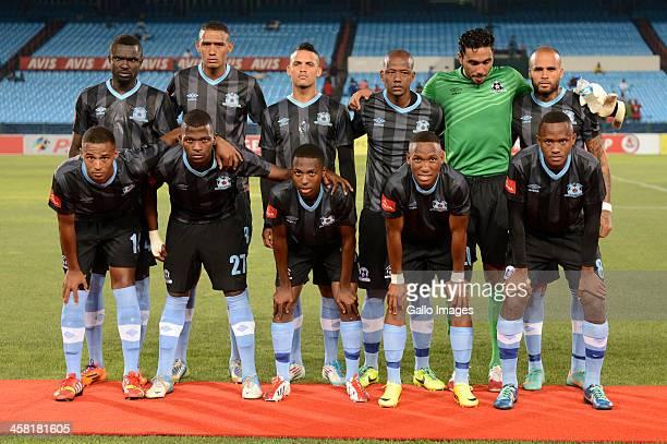 Maritzburg United pose prior to the Absa Premiership match between Mamelodi Sundowns and Maritzburg United at Loftus Stadium on December 20, 2013 in...