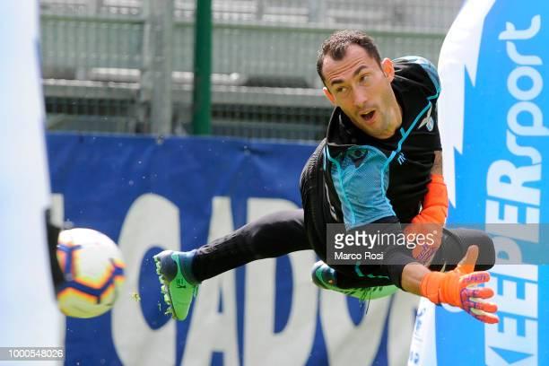 Marius Adamonis of SS Lazio in action during the SS Lazio preseason training camp on July 17 2018 in Auronzo di Cadore near Belluno Italy