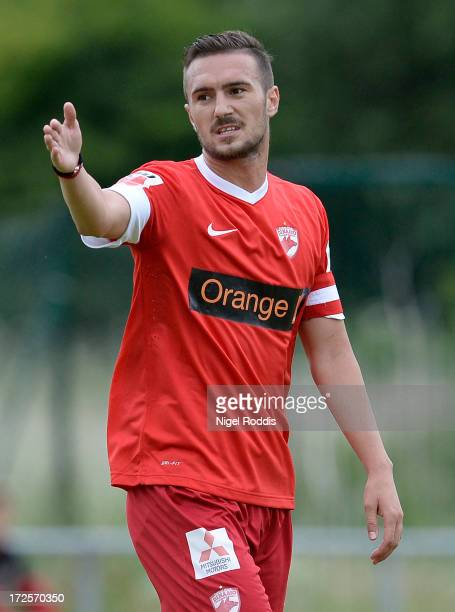 Marius Alexe of Dinamo Bucharest gestures during a preseason friendly between Livingston and Dinamo Bucharest at the Rothwell Club on July 3 2013 in...