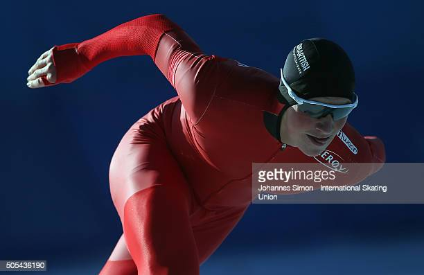 Marius Bratli of Norway competes in the men 1000 m heats during day 2 of ISU speed skating junior world cup at ice rink Pine stadium on January 17...