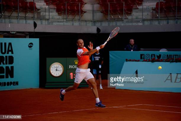 Marius Copil in his match against Taylor Fritz during day two of the Mutua Madrid Open at La Caja Magica in Madrid on 5th May, 2019.