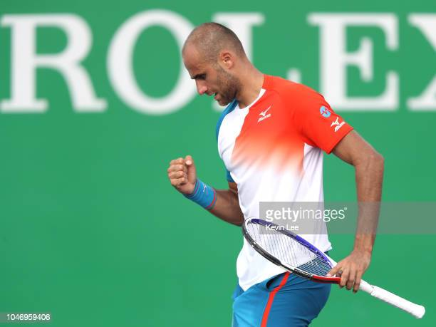 Marius Copil of Romania celebrates a point during his First Round match against Vasek Pospisil of Canada of 2018 Rolex Shanghai Masters on Day 1 at...