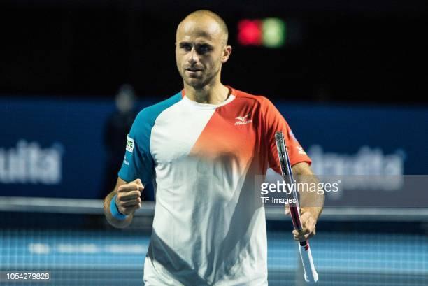 Marius Copil of Romania celebrates after scoring during the Swiss Indoors Basel tennis match between Alexander Zverev and Marius Copil on October 27,...