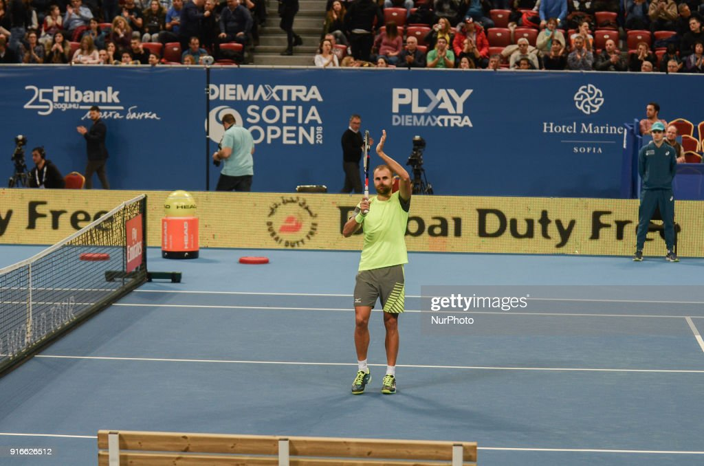 Marius Copil of Romania celebrates after win in his semi final match during DIEMAXTRA Sofia Open 2018 on February 10, 2018, in Arena Armeec Hall in the Bulgarian capital of Sofia. Marius Copil from Romania win over Jozef Kovalic of Slovakia of Serbia 62 / 64 Sofia, Bulgaria on February 10, 2018