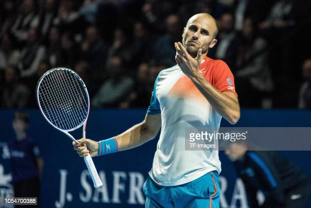 Marius Copil of Romania gestures during the Swiss Indoors Basel final tennis match between Roger Federer and Marius Copil at St Jakobshalle on...