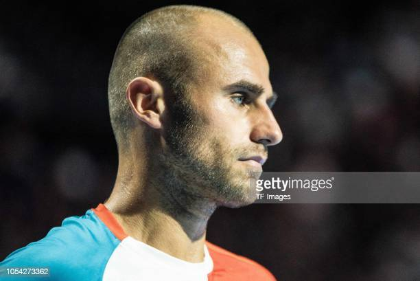 Marius Copil of Romania looks on during the Swiss Indoors Basel tennis match between Alexander Zverev and Marius Copil on October 27, 2018 in...