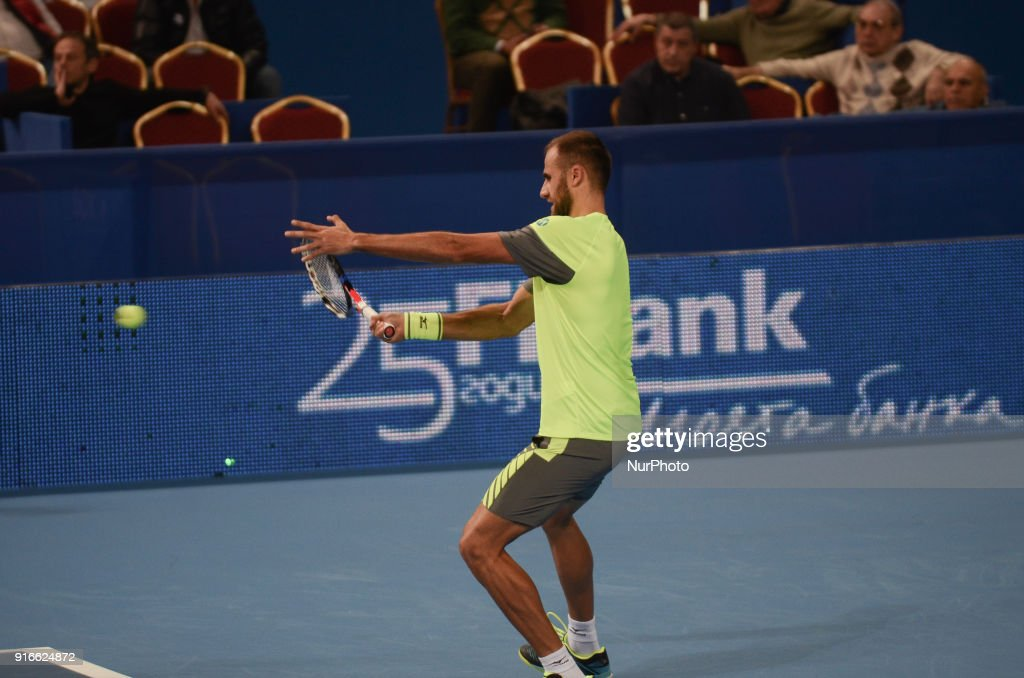 Marius Copil of Romania plays a shot in semi final match during DIEMAXTRA Sofia Open 2018 on February 10, 2018, in Arena Armeec Hall in the Bulgarian capital of Sofia. Marius Copil win over Jozef Kovalic of Slovakia of Serbia 62 / 64 Sofia, Bulgaria on February 10, 2018