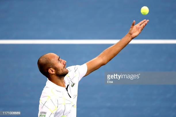 Marius Copil of Romania serves during his Men's Singles second round match against Gael Monfils of France on day four of the 2019 US Open at the USTA...