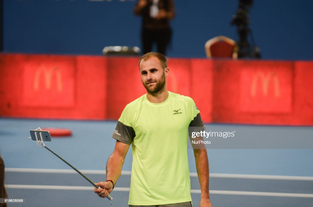 Marius Copil of Romania take selfie after win at his semi final match during DIEMAXTRA Sofia Open 2018 on February 10, 2018, in Arena Armeec Hall in the Bulgarian capital of Sofia. Marius Copil from Romania win over Jozef Kovalic of Slovakia of Serbia 62 / 64 Sofia, Bulgaria on February 10, 2018