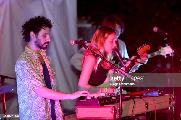 Marius Duflot Laure Briard and Victor Peynichou perform onstage at Burgermania during 2017 SXSW Conference and Festivals at Hotel Vegas at Volstead...