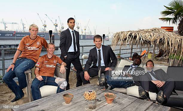 Marius Ebbers Timo Schultz Fabio Morena Thomas Kessler Gerald Asamoah and goalkeeper Mathias Hain pose during the FC St Pauli street wear...