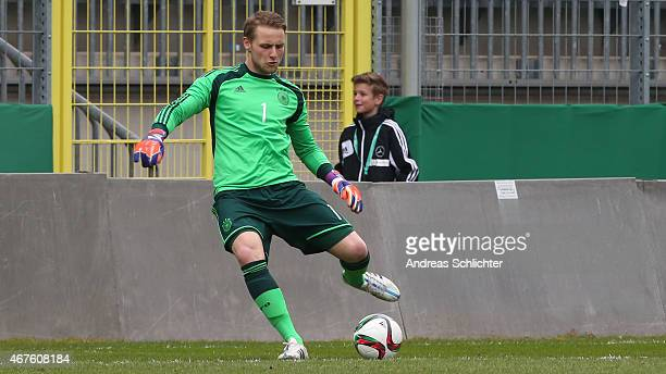 Marius Funk of Germany during the UEFA Under19 Elite Round match between U19 Germany and U19 Slovakia at Carl-Benz-Stadium on March 26, 2015 in...