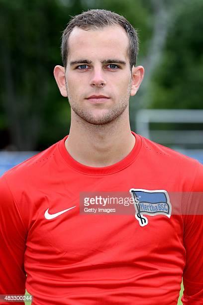 Marius Gersbeck poses during the Hertha BSC team presentation on July 10 2015 in Berlin Germany