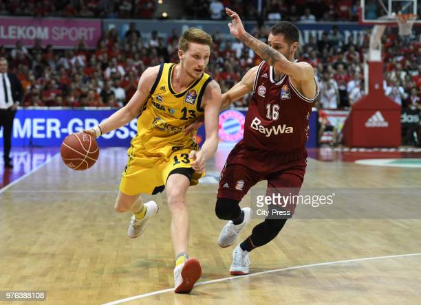 Marius Grigonis of Alba Berlin and Stefan Jovic of FC Bayern Munich during the game between FC Bayern Munich and Alba Berlin on june 16 2018 in...