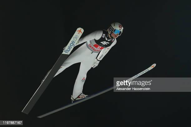Marius Lindvik of Norway competes during the first round during the 68th FIS Nordic World Cup Four Hills Tournament at Paul-Ausserleitner-Schanze on...